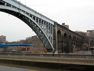 The view of the High Bridge from Harlem River Drive