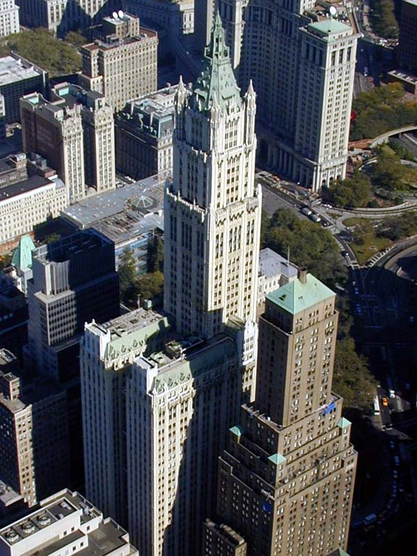 The view on the woolworth building across the wtc site in april of