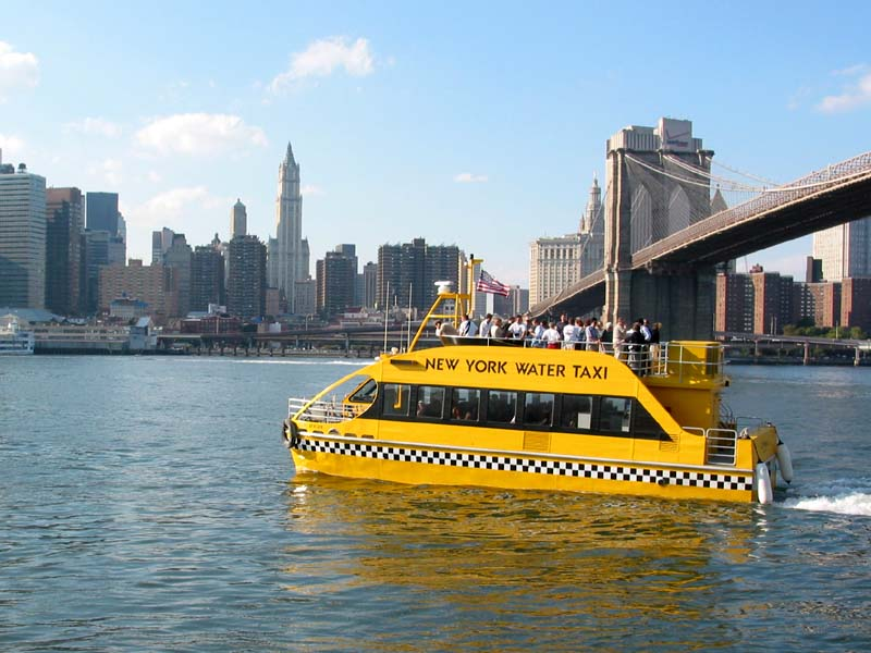 New york water taxi leaving fulton ferry landing